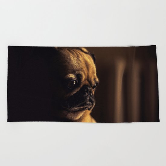 Cute Pug Dog Beach Towel