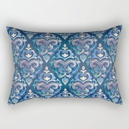 Persian Floral pattern blue and silver Rectangular Pillow