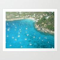 St Baarths boats aerial view Art Print