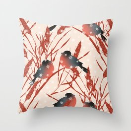 Winter pattern with bullfinches. Throw Pillow