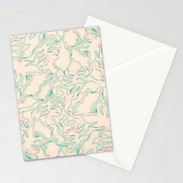 Minimal Shapes Peach Green Orange Skintones Fall Palm Leaf Pattern Digital Art Print Art Print Stationery Cards