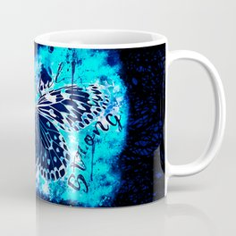 butterfly beautiful strong free splatter watercolor blue negative Coffee Mug