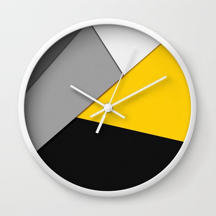 Simple Modern Gray Yellow and Black Geometric Wall Clock