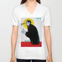 vampire V-neck T-shirts featuring Vampire by Musya