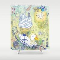 duck Shower Curtains featuring Duck by Raewyn Haughton