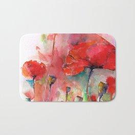 poppies aquarel watercolor wall art Bath Mat