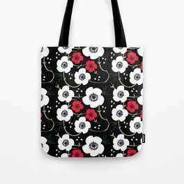Anemone Print on Black Tote Bag