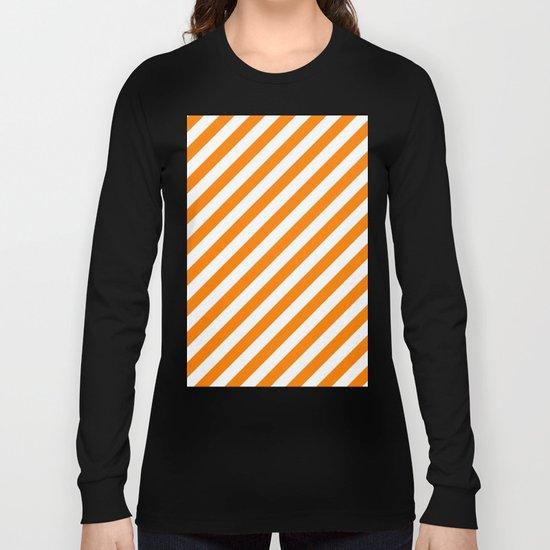 Diagonal Stripes (Orange/White) Long Sleeve T-shirt