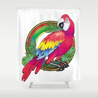 parrot Shower Curtains featuring parrot by Elena Trupak