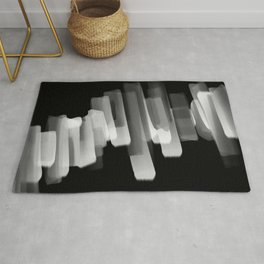 Stairs of Light - Black and White Rug