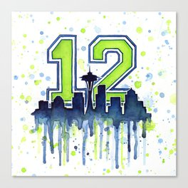 Seattle 12th Man Art Skyline Watercolor Canvas Print