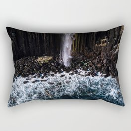 Aerial of Basalt waterfall flowing into the Atlantic ocean on the Isle of Skye - Landscape Photo Rectangular Pillow
