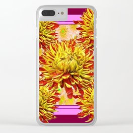 Stylized Abstracted Burgundy Yellow Chrysanthemums Floral Clear iPhone Case