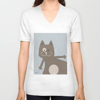 my mad fat diary V-neck T-shirts featuring Fat Cat by nellifant
