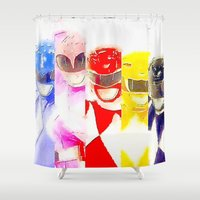 power rangers Shower Curtains featuring Power Rangers by americanmikey