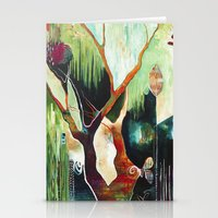 """flora bowley Stationery Cards featuring """"Temple Lilies"""" Original Painting by Flora Bowley by Flora Bowley"""