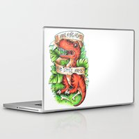 t rex Laptop & iPad Skins featuring T-Rex by Little Lost Forest