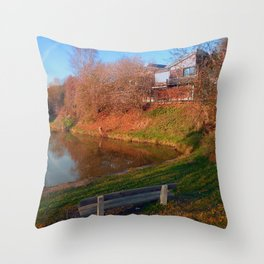 Romantic bench at the pond | waterscape photography Throw Pillow