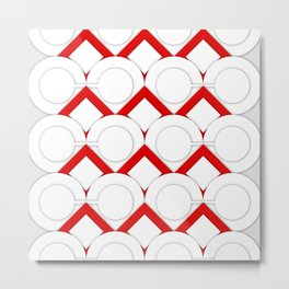 White Circles And Red Squares Abstract Geometric Pattern Metal Print