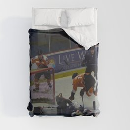 Dive for the Goal - Ice Hockey Duvet Cover