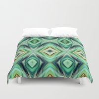 green pattern Duvet Covers featuring Pattern green  by Christine baessler