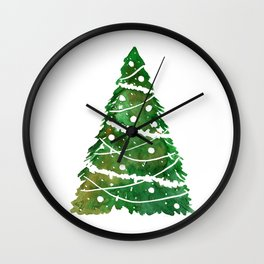 A vibrant green Christmas tree for a Christmas card. Wall Clock