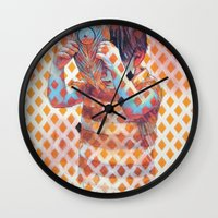 third eye Wall Clocks featuring Third eye by Cristian Blanxer