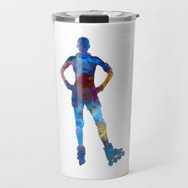 Woman in roller skates 02 in watercolor Travel Mug