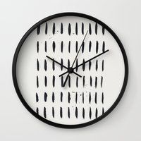 the strokes Wall Clocks featuring Strokes - black by Juste Pixx Designs