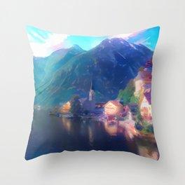 Playfully Bright Hallstatt Village Throw Pillow