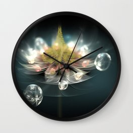 Flower and drops Wall Clock