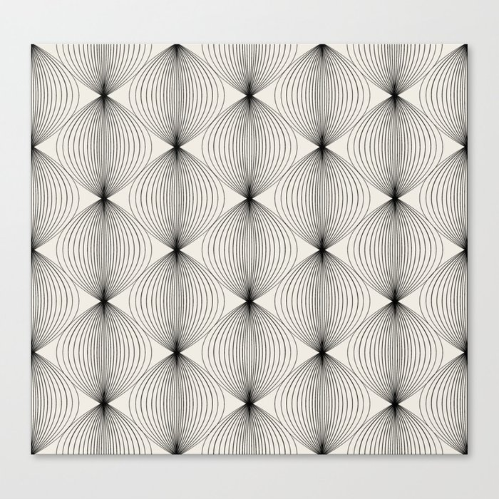 Geometric Orb Pattern - Black Canvas Print