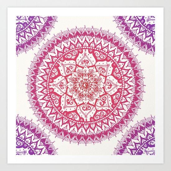 Yin Yang Mandala in Tropical Sunset Art Print