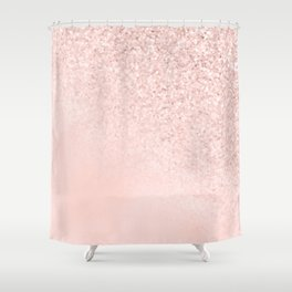 She Sparkles Rose Gold Pastel Light Pink Luxe Shower Curtain