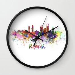 Riyadh skyline in watercolor splatters Wall Clock