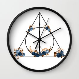 Deathly Hallows in Blue and Brown Wall Clock