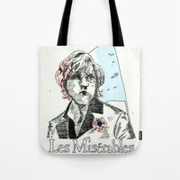 les mis Tote Bags featuring Enjolras Les Mis Poster by Pruoviare