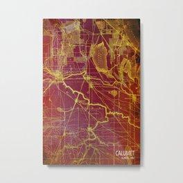 Calumet old vintage map year 1892 usa maps Metal Print