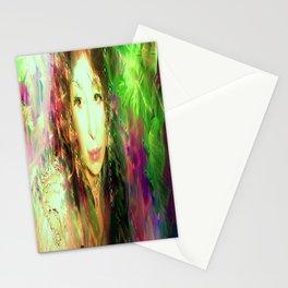 Fairy feather head dress fairy goddess green feathers belly dancer kashmir,art print Stationery Cards