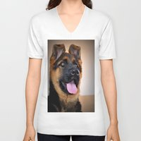 puppy V-neck T-shirts featuring puppy by  Agostino Lo Coco