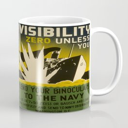 Illustrated Navy Poster Coffee Mug