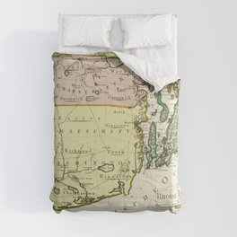 1797 Colonial Era Map of Rhode Island and Narragansett Bay Comforters