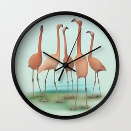 Flamingo Mingle Wall Clock