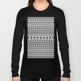Aztec Essence Pattern Black on White Long Sleeve T-shirt