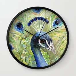 Peacock Watercolor Painting | Exotic Birds Wall Clock