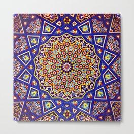 N80 - Traditional Moroccan Geometric Art Floral Mandala. Metal Print