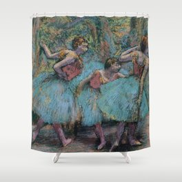 Edgar Degas - Three Dancers (Blue Tutus, Red Bodices) Shower Curtain