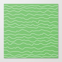 Green with White Squiggly Lines Canvas Print