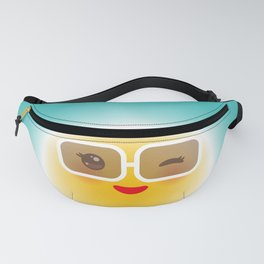 Kawaii funny sun with sunglasses pink cheeks and wink at eyes Fanny Pack