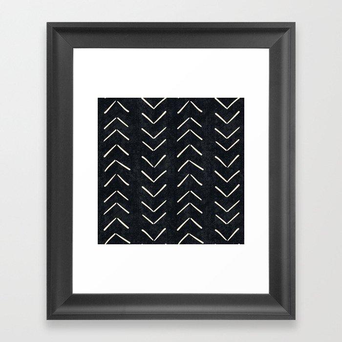 Mudcloth Big Arrows in Black and White Gerahmter Kunstdruck